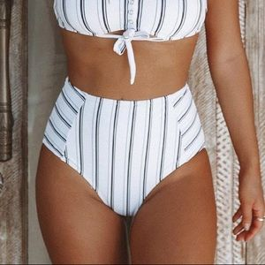 Cupshe Striped High Waist Bikini Bottoms Medium